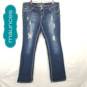 Maurices Distressed Stretched Denim Sz 13/14